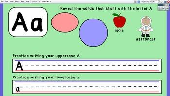 ActivInspire Flipchart for Letter A - (Letter Formation & Beginning Sound