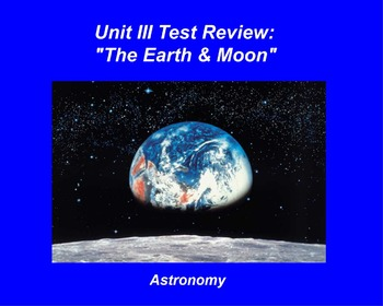 "ActivInspire Unit III Test Review ""The Earth & Moon"""