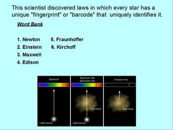 """ActivInspire Unit VI Lesson II Review """"Spectroscopy"""""""