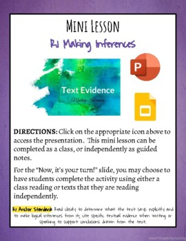 Activating Strategy: Making Inferences and/or Supporting Conclusions