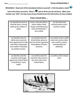 Activating and Summarizing Strategies:  World War I