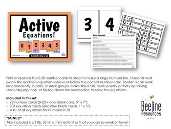 Active Equations! Addition 0-20 / Number Cards and Equation Cards *2 Sets*
