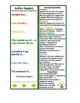 Active Inquiry Think Aloud Bookmark