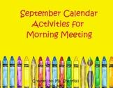 Active Inspire Flipchart September Calendar and Morning Meeting