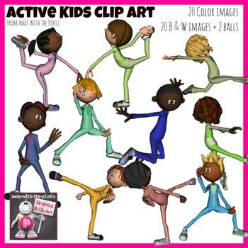 Active Kids Clip Art Set - 20 Clipart images Showing Kids in Motion