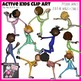 Active Kids Clip Art Set - 20 Clipart images Showing Kids in Motion