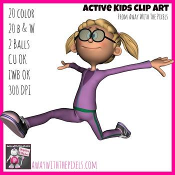 Active Kids Clip Art Set - 20 Clipart images Showing Kids
