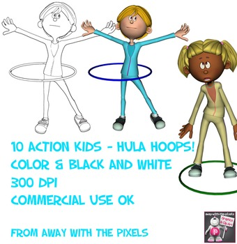 Active Kids Hula Hoops Color and Black & White Clip Art