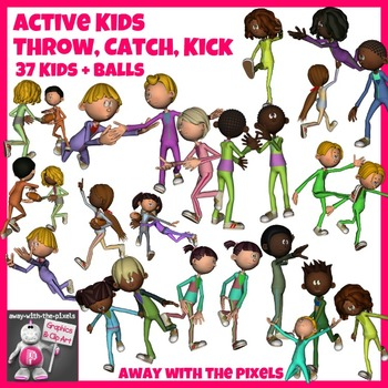 Active Kids Throw, Catch and Kick 37 Color and Black & White Clip Art