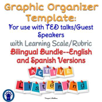 Active Listener Template for Use with TED talks/Guest Speakers Bilingual Bundle