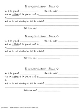 Active listening worksheets for adults