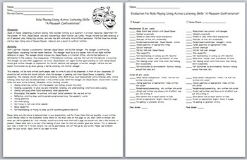 """Active Listening- Role Playing/Skit Writing Activity- """"A Pleasant Confrontation"""""""
