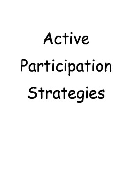 Active Participation Strategies