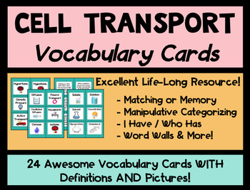 Active & Passive Cell Transport Vocabulary Cards WITH Defi