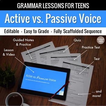 Active & Passive Voice: Scaffolded Grammar Lesson, Quiz, & Test Set