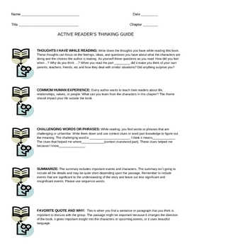 Active Reader's Thinking Worksheet and Student Reference