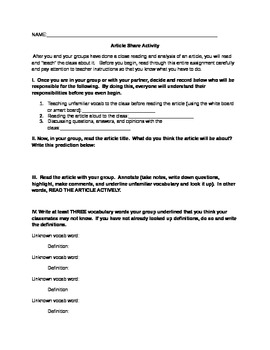 Active Reading Article Share Activity