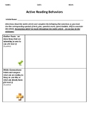 Active Reading Behaviors Worksheet