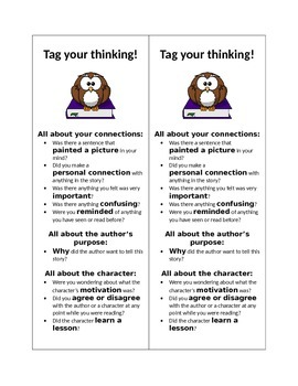 Active Reading Bookmark:  Thinking Aloud