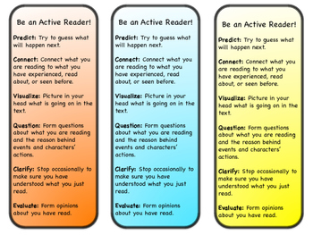 Active Reading Strategy Bookmarks