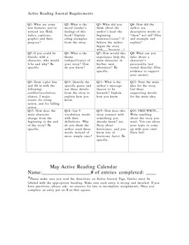 Active Reading Calendar for September-May
