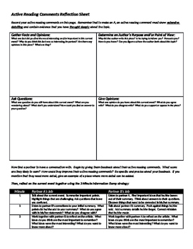 Active Reading Comments Reflection Sheet