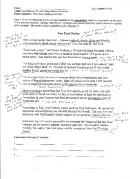 Active Reading Exercise: Annotating a Text Example