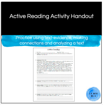 Active Reading / Independent Reading / Literature Circles Handout