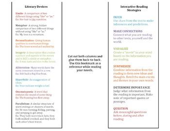 Active Reading & Literary Device Bookmark