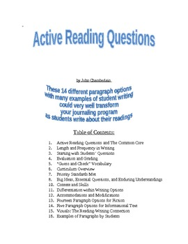 Active Reading Questions for Journaling about Literature and Informational Text