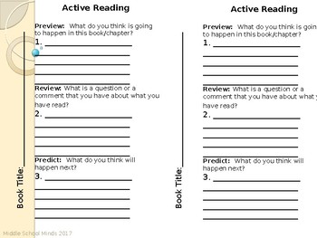 Active Reading - Reader's Notebook Page