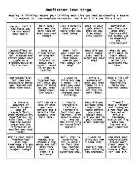 Active Reading Response Bingo for Informational and Literature Printables
