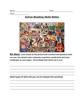Active Reading Skills Powerpoint Notes Sheet