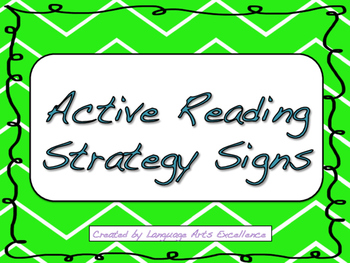 Active Reading Strategy Signs for the Classroom