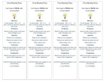 Active Reading Strategies Bookmark