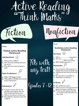"Active Reading ""Think Mark"" Fiction and Nonfiction 7-12"