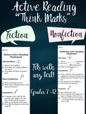 """Active Reading """"Think Mark"""" Fiction and Nonfiction 7-12"""