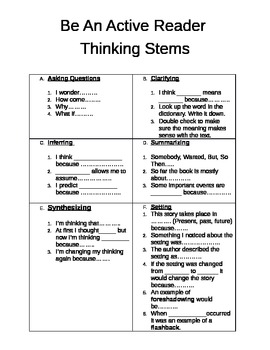 Active Reading Thinking Stems