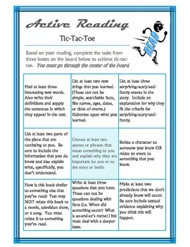 Active Reading Tic-Tac-Toe