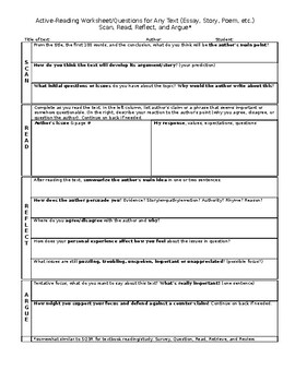 Active-Reading Worksheet/Questions for any text (essay, story, poem, etc.)