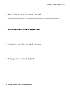 Active Reading Worksheet for The Devil and Tom Walker