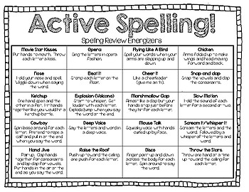 Active Spelling Energizers!