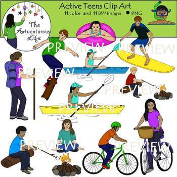 Active Teens Clip Art