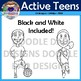 Active Teens Clip Art (Jumping, Running, Action, Soccer, Physical Education)