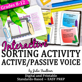 Active and Passive Voice Verbs, Grammar Game, Great for Learning Stations