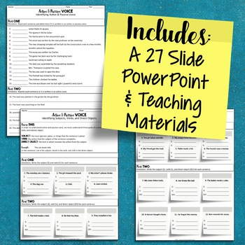 Active Voice and Passive Voice Mini Unit: PowerPoint, Worksheets, Test