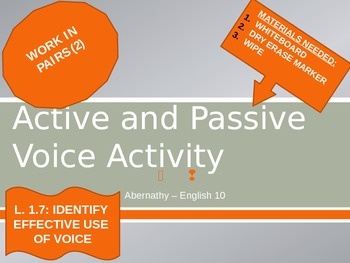 Active and Passive Sentence PowerPoint Activity