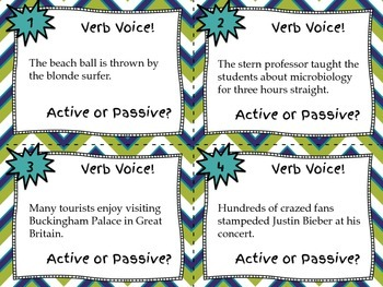 Active and Passive Verb Voice Task Cards - Grades 5-8 - Set of 32 Cards