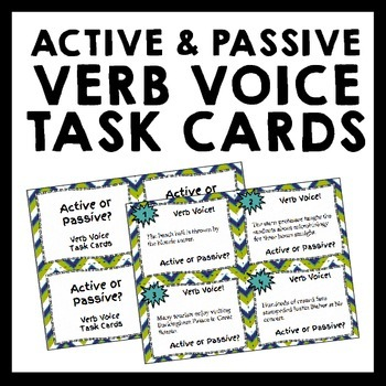 Active and Passive Verb Voice Task Cards - Grades 5-8 - Se