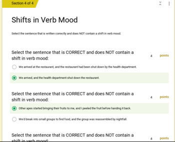 Active and Passive Voice Assessment - Google Forms